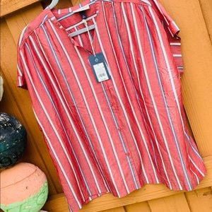 Pinstriped short sleeve Top red white & navy blue